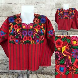Guatemalan Red Green Stripes Huipil BlueYellow Bird Floral Embroidered Poncho