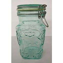 Kyпить Green Glass Apothecary or Storage  Jar With Wire Lid 7 1/2