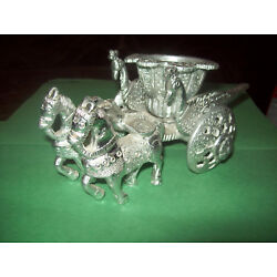 Kyпить SILVER COLOR METAL - TWO HORSES WITH WAGON- CHARIOT ONE OF KIND  на еВаy.соm