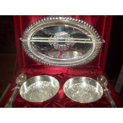 Kyпить NEW SILVER COLOR  METAL KHEER BOWL SET OF 5 IN RED PLUSH FABRIC BOX  на еВаy.соm