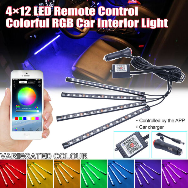 Leicester,United Kingdom4 x12 LED RGB Car Interior Atmosphere  Lights Strip Colors Decor Lamps 12V UK