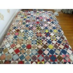 Kyпить Vintage Feedsack handstitched Quilt Red Blue 75 x 90 Excellent на еВаy.соm