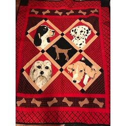 Kyпить Vintage India 1994 Handmade red  Puppy Quilt Blanket Patchwork Dog 61X 50 на еВаy.соm