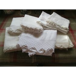 Kyпить WHITE PILLOWCASES - LOTOF 7-VINTAGE CROQUET LACE BOTTOM - ESTATE FIND-STD-WHITE на еВаy.соm