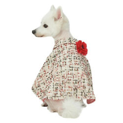Blueberry Pet Caroline Pink Dog Sweater Cape Poncho Pearl Necklace 16  XL NWT