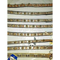 GOLD COLORED LEATHER COLLAR, QUALITY USA MADE, SPIKES & SWAROVSKI CRYSTALS