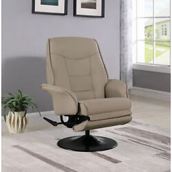 Coaster Swivel Recliner With Leatherette Flared Arm Beige 7502