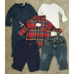 Kyпить Mixed Lot 5 Piece Baby Clothes Pants, Jeans, Plaid Shirt Size 6 & 6-9 Months на еВаy.соm