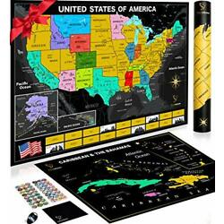 Kyпить Scratch Off Map of The United States with National Parks 24