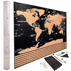 Kyпить Scratch Off World Map Poster - Gold and Black with All U.S. States and  на еВаy.соm