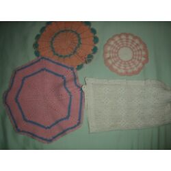Kyпить Vtg Lot CROCHETED DOILIES TABLE SCARVES Hand Made  на еВаy.соm