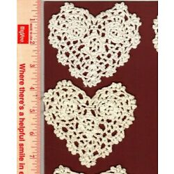 Kyпить Crocheted doilies heart shaped white & ivory 12 total 100% cotton 4