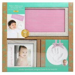 Kyпить Baby's Milestone KEEPSAKE KIT - PINK Wood Letterboard, HAND PRINTS & Frame New на еВаy.соm