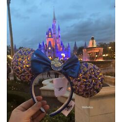 Kyпить Disney Parks WDW 2021 Annual Passholder Blue Sequined Minnie Mouse Bow Ears New на еВаy.соm