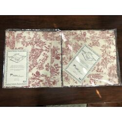 Lot of 2 Park Designs Country Toile French 8'' x 8''  Basket Red Ivory Corner Ties
