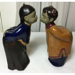 Kyпить Vintage Pair Of Chinese Hand Made And Painted Ceramic Girl Boy Kissing Statues на еВаy.соm