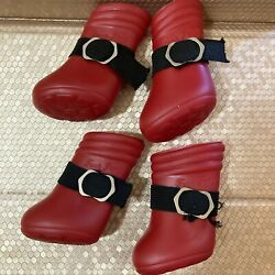 VTG Four Paws Red Rubber Dog Boots Rain Snow waterproof outdoor Shoes Set