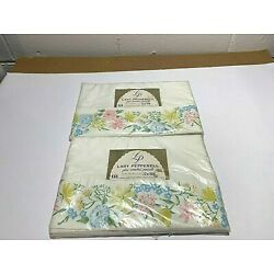 2 VTG Lady Pepperell White Sheets Twin Flat Floral Border 72'' X 108'' Percale