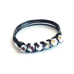 Kyпить Tiny 6 Stone Silver and Black Wire Wrapped Stackable Ring на еВаy.соm