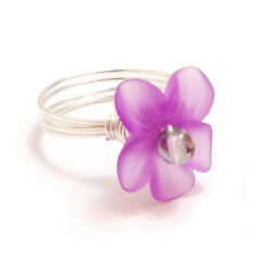 Kyпить Violet Purple Orchid Flower Wire-Wrapped Ring with Glass Pearl Center на еВаy.соm