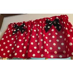 MIckey Mouse Red  Minnie Mouse Curtain Valance Window Topper Cotton 43''W x 15''L