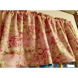 Pink Vintage Look Teacup Dishes 42''W 15''L  Curtain Valance Cotton Shabby Chic