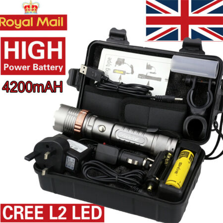 img-20000lm SHIXE L2 LED Tactical Flashlight UK Military Grade Torch Rechargeable