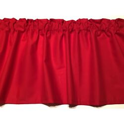 Solid Cherry Red Valance Cotton fabric 42''wide 15''L Bedroom Kitchen