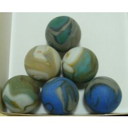 Kyпить 6 Marbles Beach Style Sea Glass Swirls Shooters Multicolor Red Blue Very Sweet  на еВаy.соm