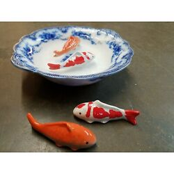 Kyпить Chinosiorie porcelain Ceramic Floating Koi Fish Set 4 Multicolored Goldfish asia на еВаy.соm