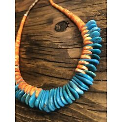 Kyпить #1460 Orange Spiny Oyster Necklace, Kingman Turquoise Tear Drops Sterling 925 на еВаy.соm