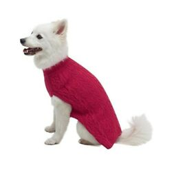 Classic Wool Blend Cable Knit Dog Sweater  Pink Size 16'' New