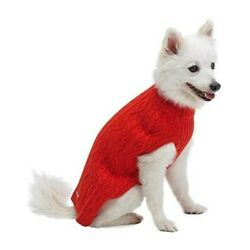 Classic Wool Blend Cable Knit Dog Sweater Red Size 12'' New