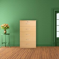 Better Home Products Olivia Wooden Tall 5 Drawer Chest Bedroom Dresser