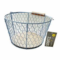 New NWT Spritz Light Blue Wire Basket Wood Accents Handle 4-5'' Farmhouse Gift