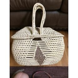 Large Straw Basket With Handles And Lid Handmade Picnic / Storage Oval Shape