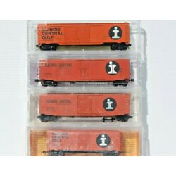 Illinois Central/ICG.  Set of 4 N Scale Box Cars. MTL, Deluxe Innovations, Atlas