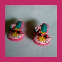 2 Beach Flamingo Shades Vacation Silicone Shoe Charms for Crocs gift USA Seller
