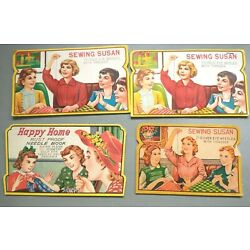 Lot of 4 Mixed Vintage Sewing Needle Packs  Books  Advertising