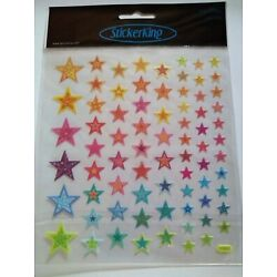 Crafts Stickers SK Bright Stars Patterns Glitter Various Sizes Pink Blue Green