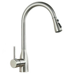 Brushed Nickel Single Handle Kitchen Faucet Sink Pull Out Sprayer Head Mixer tap