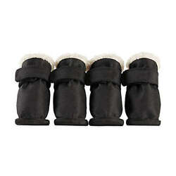Pawslife Pet Boots Small Black w/Cream Sherpa 4pc SET 17191 Fur-Lined FREEgftwrp