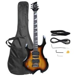 Glarry Burning Fire 36inch Left Handed Electric Guitar Sunset