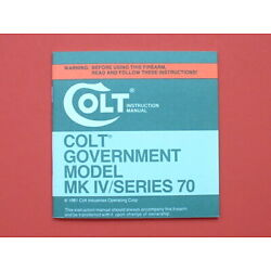 1981/1982 COLT GOVERNMENT MODEL MK IV/SERIES 70 Owner's Manual - New Old Stock