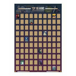 Guildable Top 100 Anime Scratch Off Poster 2021 Anime Bucket List Premium