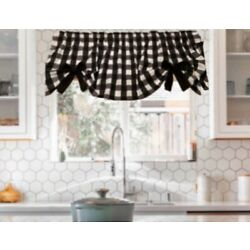 Farmhouse, Black and White Buffalo, Check, Curtain Valance, With Bows,42 W x15''L