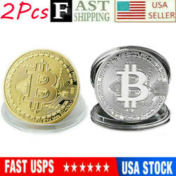 2Pcs Bitcoin Commemorative 2020 New Collectors Gold Silver Plated Bit Coin USA