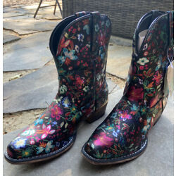 NWT Roper Ingrid Floral Snip Toe Women s Western Cowboy Boots Shoes Size 8.5