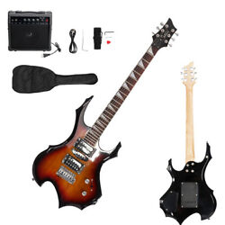 New Sunset Burning Fire Basswood Electric Guitar with Bag & 20W Amp