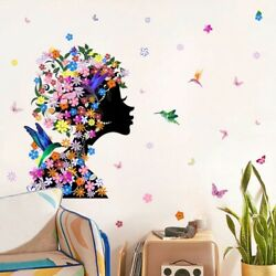 Butterfly Fairy Flower Girl Wall Stickers For Living Room Bedroom Mural Decals
